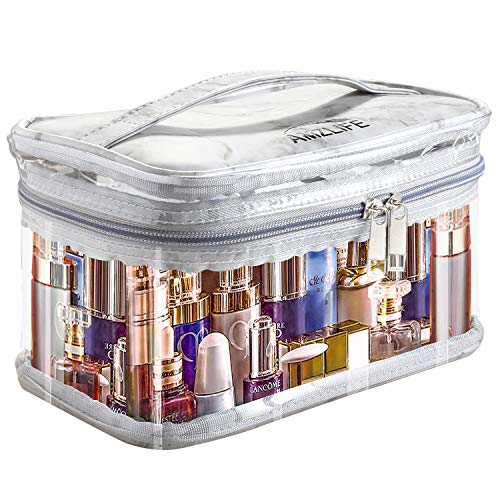 Small Clear Travel Make-up Organizer Bag for Women, Plastic Cosmetic Toiletry Storage Case with Brush Holder Slots, Carry Handle, Mini Black Zipper Mesh Pouch, Portable Waterproof PVC Box, Marble