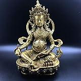 YOPDNE Apertura Antigua Feng Shui Cobre Puro Amarillo Dios de la Riqueza Decoración Estatua de Buda Budismo Tibetano Tantra Zara Desfile de Buda de Bronce entronizado