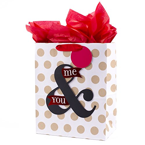 Hallmark 13' Large Anniversary Gift Bag with Tissue Paper (You & Me, Polka Dots on White) for Anniversary, Valentines Day, Grooms Gift and More