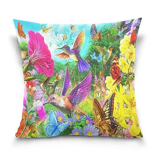 45x45cm Funda Throw Pillow Case Almohada Cojín Flor Mariposa colibrí Divertida Fundas colchón Cojines Decorativa Cuadrado sofá