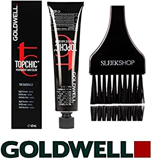 Goldwell Topchic Permanent Hair Color, 2.1 oz tube (with Sleek Tint Color Brush) (4NN Mid Brown Extra)