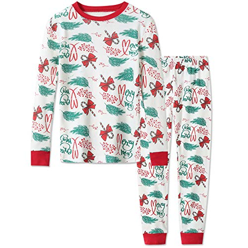 DAUGHTER QUEEN Christmas Pajamas for Boys & Girls, Baby 18M-12 Toddler Kids 100% Cotton Pjs Set Sleepwear(2T,Candy Cane & Mistletoe)