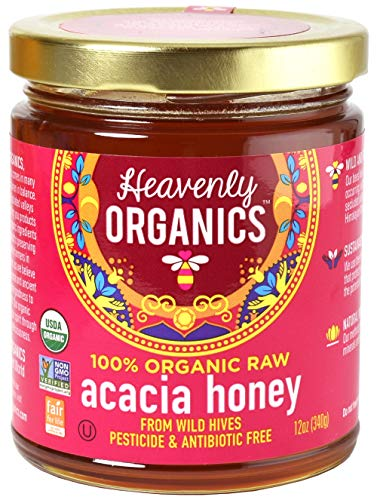 Heavenly Organics 100% Organic Raw Acacia Honey (12oz) Lightly Filtered to Preserve Vitamins, Minerals and Enzymes, Made from Wild Beehives & Free Range Bees; Dairy, Nut, Gluten Free Kosher -  Everready First Aid, 00EHII7RT25M50E