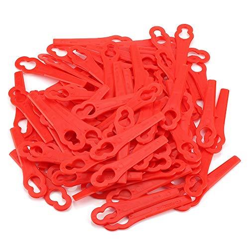 Rasentrimmer-Klingen, 100 STÜCKE Rot Ersatzmesser mähen Akku-Rasentrimmer Fester für FRT18A FRT18A1 Art 46155 FRT20A1 (Aktualisierung)