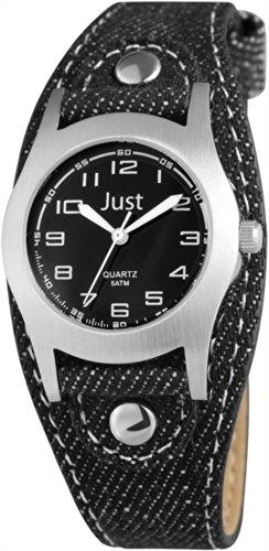 Just Watches - Reloj de Cuarzo Unisex, Correa de Tela Color Negro