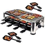 Syntrox Germany 16 Pfännchen Edelstahl Design Raclette mit Grill und Heißer Stein