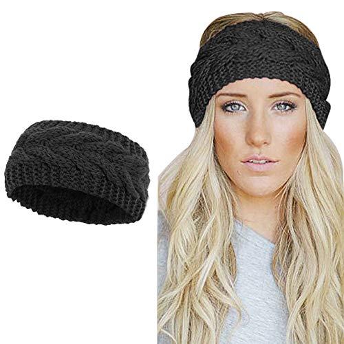 Winter Knitted Headband Women Chunky Knit Headbands Crochet Braided Hair Band Ear Warmer Crochet Head Wraps Cable Knitted Turban Hairband Black 1