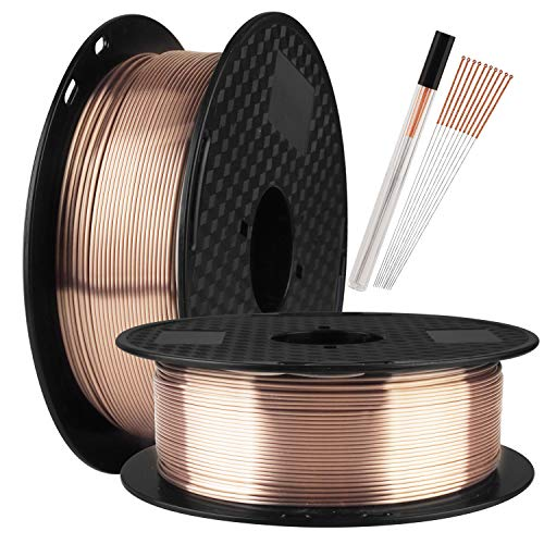 TTYT3D Silk PLA Shine Chocolate Gold 3D Printer Filament - 1kg 2.2lbs Spool 1.75mm 3D Printing Material with one Bottle 3D Printer Extra Tool