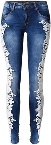 Jeans pour Femme Disco Haute Ceinture en Dentelle Denim Loose Straight Trouser Zipper Pocket Long Pants, Deep bleu, 32