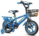 DFBGL Bicicleta para niños y niñas Freestyle, 3 Colores, 12 Pulgadas, 14 Pulgadas, Bicicleta para niños, Bicicleta para niños, Bicicleta de Juguete, Canasta Delantera, Ruedas de entrenam