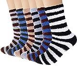 6 Pairs Mens Fuzzy Socks, Warm Winter Slipper Socks for Men