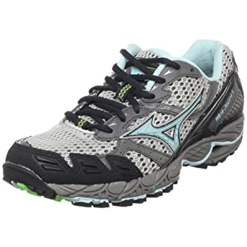 Mizuno Women s Wave Ascend 5 Trail Running Shoe,Silver/Clearwater-Anthracite,7.5 M US
