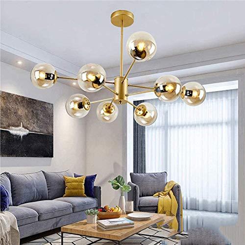 Cwypxl Nordic Sputnik Kronleuchter,E27 Schmiedeeisen Pendelleuchte,Transparent Glas Ball Pendellampe Lampe,Dekorative Deckenleuchte Island Light Lüster Golden 8-leuchten [Energieklasse A++],8lights
