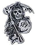 Graphic Dust Grim Reaper Sons of Anarchy Iron On Embroidered Patch Skeleton Ghost Biker Badge Black Cross Symbol Motorcycle Racing Jean Jacket Backpack Heavy Metal Car Flames