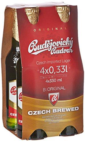 Budejovicky Budvar Cerveza Checa - Paquete de 4 x 33 ml - Total: 132 ml