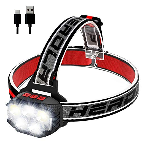 ulocool Linterna frontal LED, recargable por USB, con 5 luces, súper brillante,...