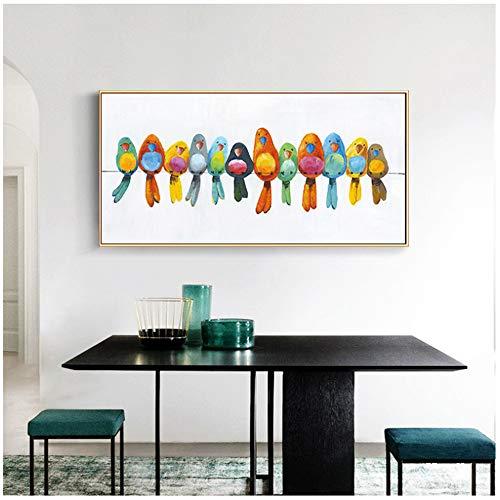 """LELME Künstlerische Farbe Tiervögel auf Draht Landschaftsmalerei auf Leinwand Poster und drucken Wandkunst Bild für Wohnkultur 70x140cm (27,6""""x55.1) ohne Rahmen"""