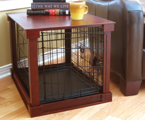 Indoor Wooden Mobile Dog Pet Cage With Crate Cover Side Panels Table...