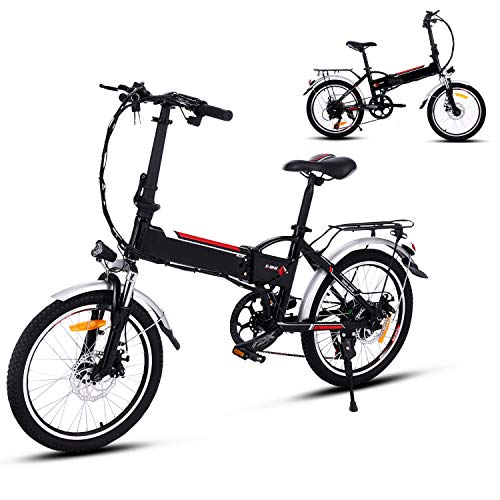 "Aceshin 20"" Folding Electric Bike with 36V 250W Removable Large Capacity Lithium-Ion Battery, 7 Speed Gear and Three Working Modes Electric Bicycle (Black)"
