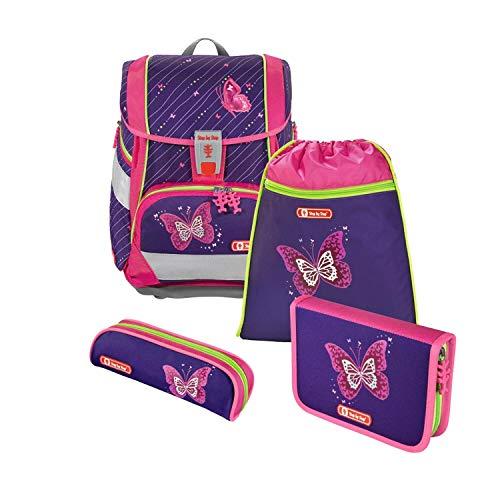 """Step by Step Schulranzen-Set 2IN1 """"Shiny Butterfly"""" 4-teilig, lila-pink, Schmetterling-Design, ergonomischer Tornister mit Reflektoren, höhenverstellbar mit Hüftgurt für Mädchen 1. Klasse, 19L"""