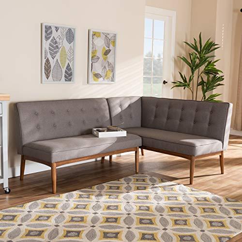 Baxton Studio Arvid Mid-Century Modern Gray Fabric Upholstered 2-Piece Wood Dining Corner Sofa Bench