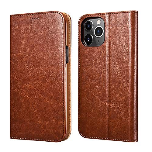 ICARERCASE Compatible for iPhone 12 &iPhone 12 Pro Case Wallet, Premium PU Leather [Magnetic Closure] Flip Cover with Kickstand and Card Slots Compatible with iPhone 12 6.1inch 2020 Model(Brown)