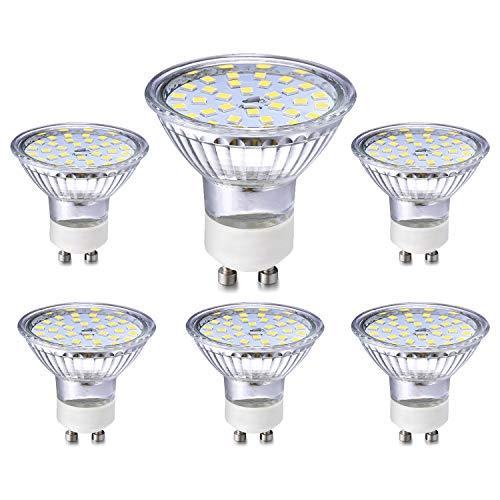 GU10 LED Licht Lampe 5W Entspricht 40W 35W Halogen Glühbirnen, KaltWeiß 6000K, GU10 Spotlight LED Lampe 450LM, nicht dimmbar, Abstrahlwinkel 120 °, AC 230 V, CRI> 83, kein Flimmern, 6er Pack