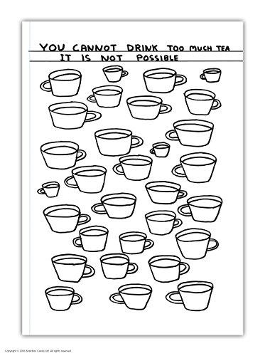 Officiële David Shrigley 'Drink te veel thee' grappige humoristische Feint gevoerde A6 Notebook