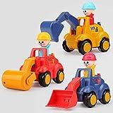 Baby Mini Inderia Set, 3 vehículos de ingeniería para niños y niñas, (rodillos de carretera, excavadoras, carretillas elevadoras de prensa) Carros para niños y juguetes para automóviles, autos de jugu