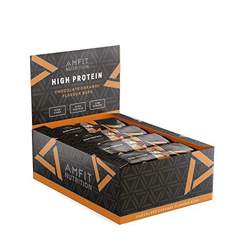 Marca Amazon - Amfit Nutrition Barrita de proteína baja en azúcar (19,6gr proteina - 1,6gr azúcar) - chocolate y caramelo - Pack de 12 (12x60g)