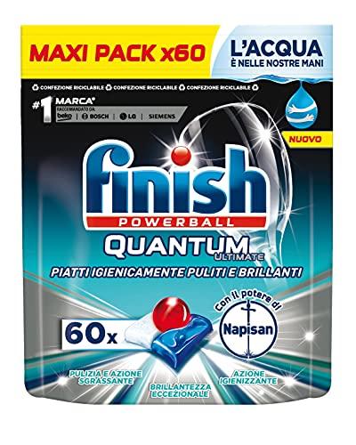 Finish 60 pastillas para lavavajillas Quantum Ultimate con el poder de Napisan, 1 paquete de 60 pastillas – 820 g