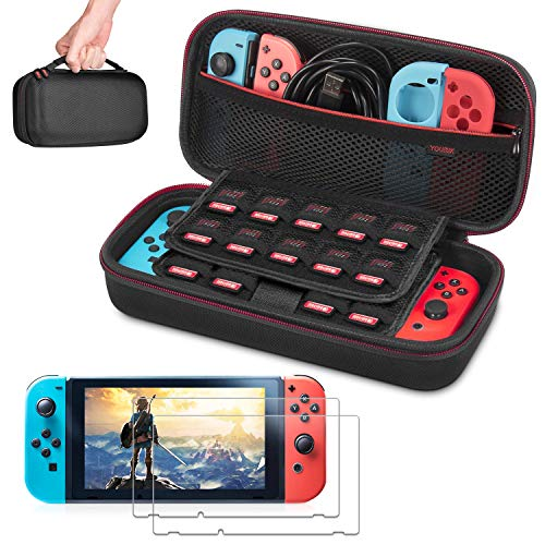 Carrying Case for Nintendo Switch with 2 Pack Screen Protector, Younik Protective Portable Travel Switch Case for 19 Game Cartridges and other Nintendo Switch Console & Accessories