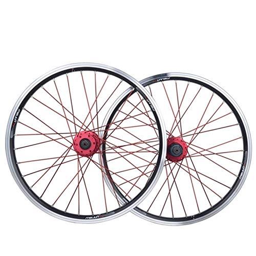 TYXTYX Ejes de liberación rápida Accesorio para Bicicleta Juego de Ruedas para Bicicleta Plegable Rueda de Bicicleta BMX de 20 Pulgadas Llanta de aleación de Doble Capa Disco/Freno en V QR 7-10 V