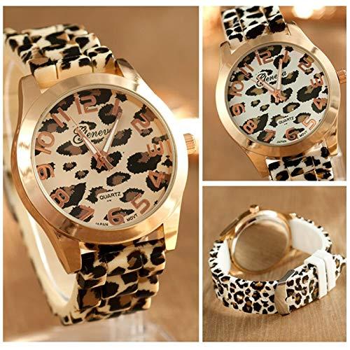 LiuQ Relojes de Pulsera Leopardo Casual Reloj de Las Mujeres de la Manera Redonda de Silicona Relojes Mujer Reloj de Cuarzo Mujer (Color : White)