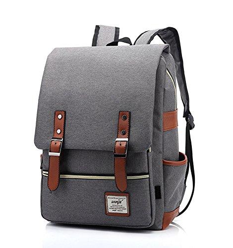EssVita Vintage Rucksack Herren Damen Unisex School Student Oxford Laptop Rucksack Retro Rucksäcke Schulrucksack Hellgrau