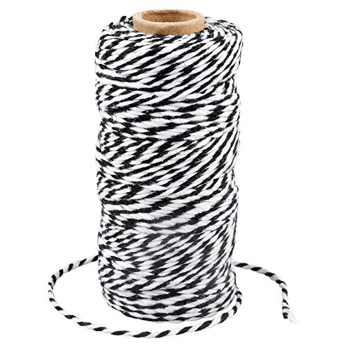 Cotton Bakers Twine,328 Feet 2MM Natural Black and White Cotton String for Crafts,Gift Wrapping Twine,Arts & Crafts, Home Decor, Gift Packaging(Black and White)