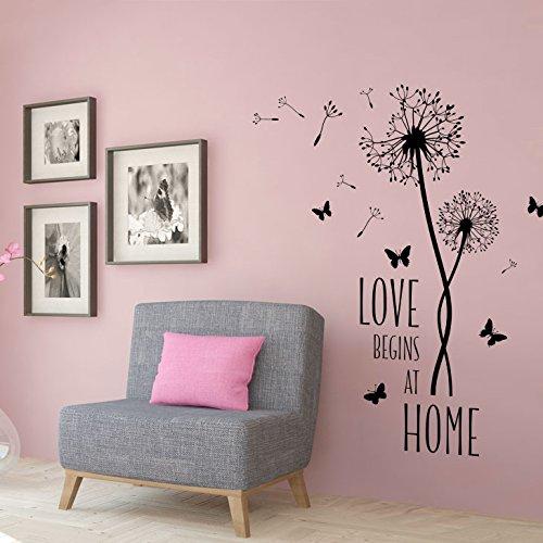 Grandora W5426 Wandtattoo Spruch Love Begins at Home + Pusteblumen Wohnzimmer schwarz (BxH) 80 x 76 cm