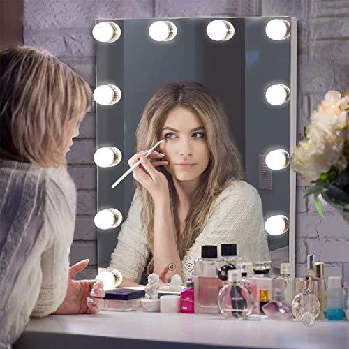 LUXFURNI Hollywood Tafelblad Make-up Spiegel met USB-aangedreven Dimbaar Licht, Touch Control, Dag/Warm Licht