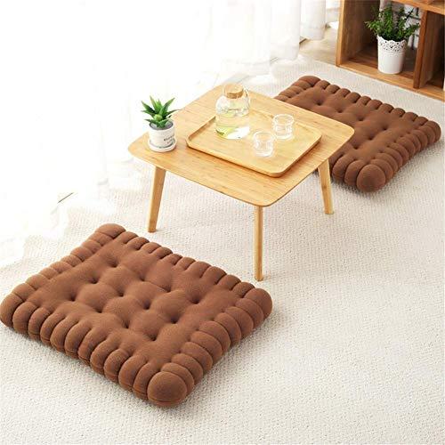 Almohada de piso, forma de galleta de comedor silla estera tatami japonés cojín color sólido galleta Bay ventana piso estera asiento cuadrado cojín meditación almohada para decoración del hogar