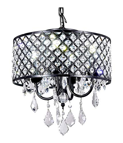New Galaxy 4-Light Antique Black Round Metal Shade Crystal Chandelier Pendant Hanging Ceiling Fixture