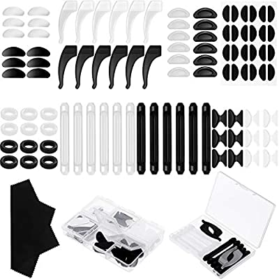 48 Pairs Eyeglasses Repair kit,Adhesive Eyeglass Nose Pads,Silicone Anti-Slip Glasses Nose Pads, Glasses Nose Grips?Glasses Hook Grip Holders?Silicone Anti-Slip Round Eyeglass Retainers, Soft Foam
