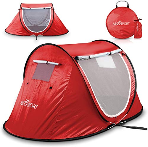 Pop-up Tent An Automatic Instant Portable Cabana Beach Tent - Suitable For upto 2 People - Doors on Both Sides - Water-resistant & UV Protection Sun Shelter - With Carrying Bag, Sets up in Seconds!
