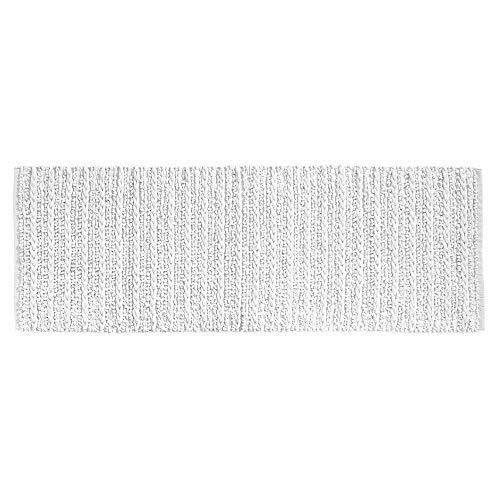 mDesign Soft 100% Cotton Luxury Hotel-Style Rectangular Spa Mat Rug, Plush Water Absorbent for Bathroom Vanity, Bathtub/Shower, Machine Washable, Braided Design, Long Runner, 60' x 21' - White