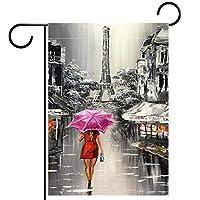 ガーデンヤードフラッグ両面 /12x18in/ ポリエステルウェルカムハウス旗バナー,通りを歩いている赤い傘を持つ女性
