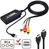 AV to HDMI Converter, Composite CVBS RCA to HDMI Video Audio Adapter, Support PAL/NTSC with USB Charge Cable for Nintendo, PC, Laptop, Xbox, VHS, VCR, Camera, DV