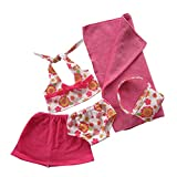 Uteruik Puppen-Badeanzug-Set für 46 cm große Puppen – Blumen-Badeanzug, Kleidungsset, Puppen-Kostüm-Zubehör, 5-teilig