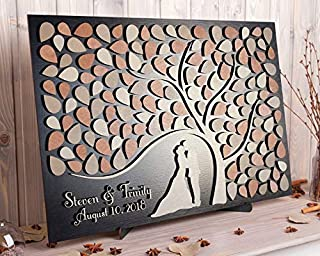 wedding guest book tree with leaves