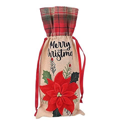 N / A Vaisselle en Toile de Jute de Couverture de Bouteille de vin de Noël, utilisée pour la décoration de Bouteille de vin de Noël, Peut être utilisée dans Les Bars, Les Maisons,