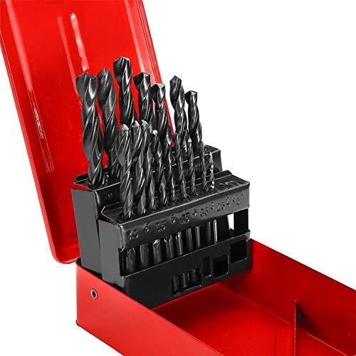 Drill Bits Drill Bits 1-13mm 19/25pcs High Speed Steel wist Drill Bit Set with Meatl Storage Box Drill Tool LLLNHQ (Size : 19pcs)