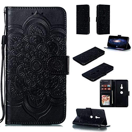 Capa para Xperia XZ3, YINCANG com estampa de flor de sol em relevo couro PU macio TPU silicone interno compartimentos para cartão magnético Flip Case para Sony Xperia XZ3 6 polegadas - Preto